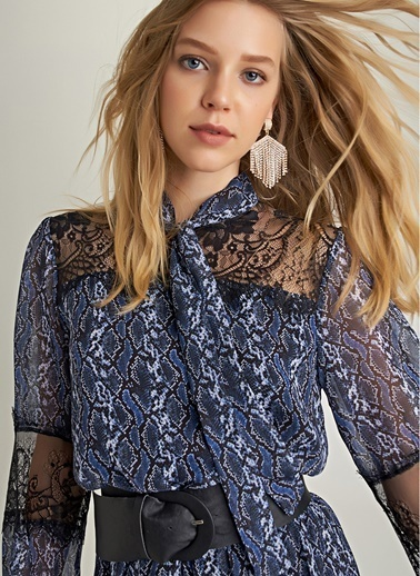 NGSTYLE Yılan Desenli Midi Elbise Lacivert